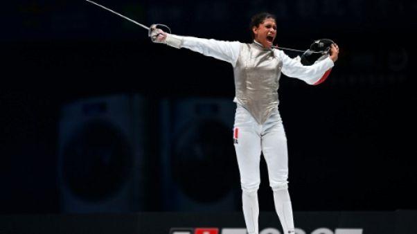 La Française Ysaora Thibus lors des championnats du monde à Wuxi en Chine le 26 juillet 2018