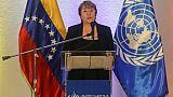 La Haute-commissaire aux droits de l'homme de l'ONU Michelle Bachelet donne une conférence de presse à Caracas, le 21 juin 2019