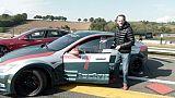 L'ancien pilote de F1 Jean-Pierre Jabouille essaie une Tesla Electric GT, sur le circuit de Pau-Arno le 27 avril 2017