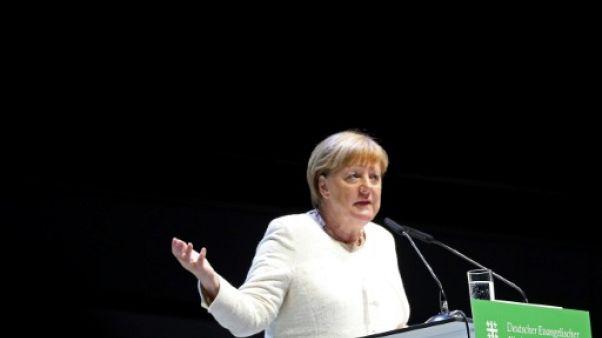 Angela Merkel prononce un discours à Dortmund pour la Journée allemande de l'Eglise protestante, le 22 juin 2019