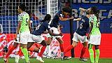L'équipe de France reste sur un court succès sur le Nigeria, grâce à un but de Wendie Renard,le 17 juin 2019 à Rennes
