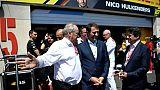 Le maire de Nice Christian Estrosi (d) en visite avec le ministre de l'Intérieur Christophe Castaner sur le circuit Paul Ricard au Castellet, le 21 juin 2019