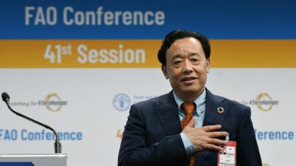 Le directeur-général, nouvellement élu de la FAO, le Chinois Qu Dongyu, à l'issue du scrutin le 23 juin 2019 au siège de l'organisation à Rome