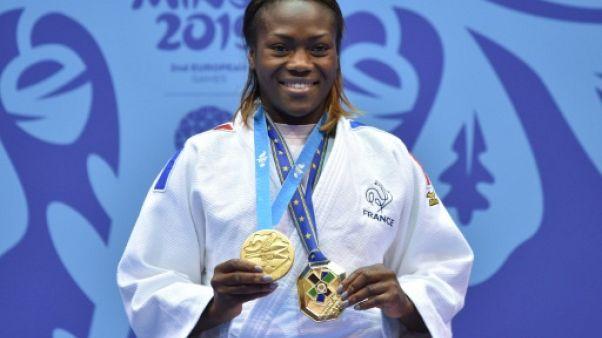 La Française Clarisse Agbegnenou sacrée championne aux Jeux européens de judo à Minsk, le 23 juin 2019