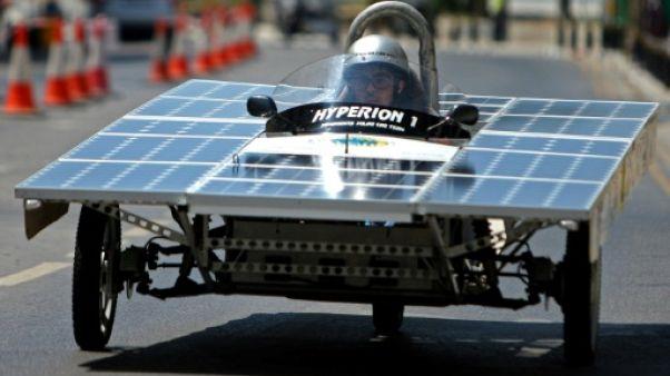 Une des voitures solaires engagées dans la course Cyprus Institute Solar Car Challenge à Nicosie, Chypre, le 23 juin 2019