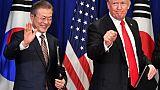 Le président américain Donald Trump et son homologue sud-coréen Moon Jae-in, à New York le 24 septembre 2018