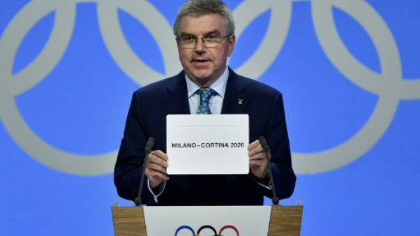 Le président du CIO Thomas Bach lors de l'annonce de l'attribution des JO d'hiver 2026 à Milan/Cortina d'Ampezzo le 24 juin 2019