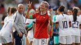 La capitaine américaine Megan Rapinoe auteure d'un doublé lors de la victoire 2-1 sur l'Espagne lors du Mondial à Reims le 24 juin 2019