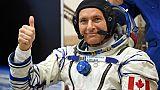 L'astronaute canadien David Saint-Jacques essaye sa combinaison avant son départ pour l'ISS, le 3 décembre 2018 à Baïkonour, au Kazakhstan