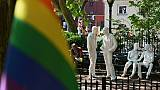 Le monument national en hommage aux émeutes de Stonewall, dans le quartier new-yorkais de Greenwich Village, le 4 juin 2019