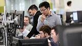 FTSE 100 slips as dollar falls on Fed stance, trade jitters linger