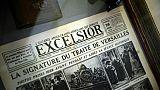 La Une du 29 juin 1919 du journal L'Excelsior, photograpiée en 2014 au Musée des lettres et manuscrits à Paris