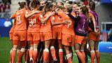 Les Néerlandaises savourent leur victoire sur les Canadiennes à en phase de groupes du Mondial, à Reims, le 20 juin 2019