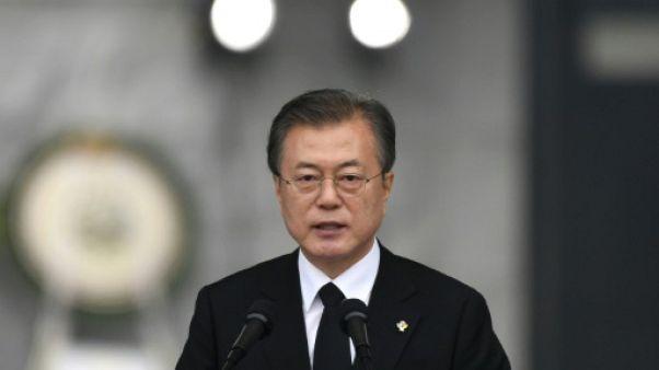 Le président sud-coréen Moon Jae-in lors d'un discours à Séoul le 6 juin 2019