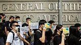 Des manifestants hongkongais mobilisés contre un projet de loi autorisant les extraditions vers la Chine se rendent au consulat des Etats-Unis à Hong Kong, le 26 juin 2019