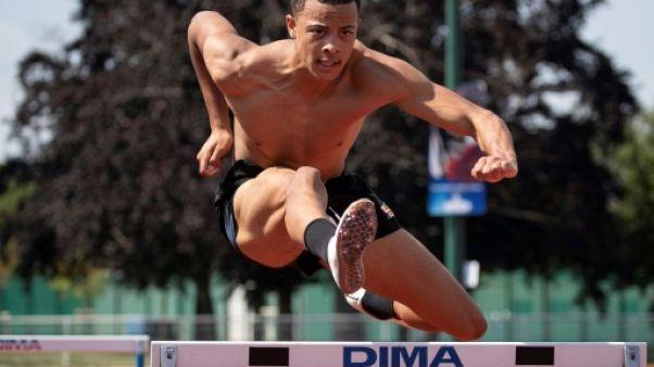 L'athlète franco-australien Sasha Zhoya lors d'une séance d'entraînement à l'Institut national du sport (INSEP), le 25 juin 2019 à Paris
