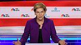 La candidate à l'investiture démocrate Elizabeth Warren sur le plateau du premier débat pour la présidentielle de 2020 à Miami, en Floride, le 26 juin 2019