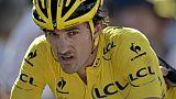 Le Suisse Fabian Cancellara revêtu du maillot jaune lors de la 3e étape du Tour de France entre Anvers et Huy, le 6 juillet 2015