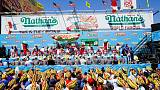 Chestnut crowned July 4 hot-dog champ again but can't top his own record