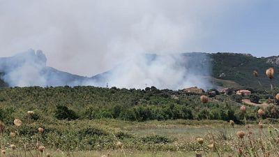 Incendio minaccia borgata nel sassarese