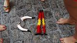 'Speared' activists protest Spain's Pamplona bull runs