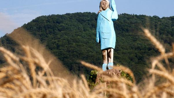 Rustic sculpture of Melania Trump unveiled near Slovenian hometown