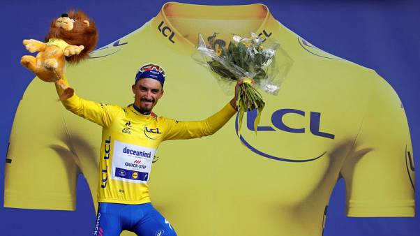 Cycling - Alaphilippe takes Tour stage three and yellow jersey