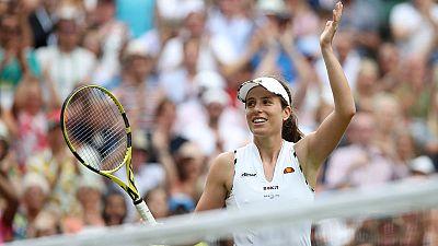 Konta clatters Kvitova to reach Wimbledon quarters