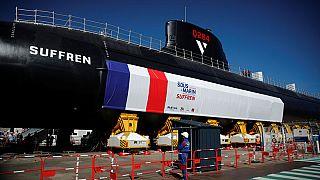 French President Emmanuel Macron unveils France's nuclear-powered 'Barracuda' submarine