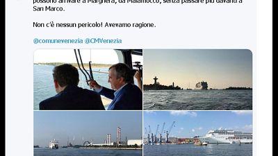 Blitz sindaco Venezia su nave crociera