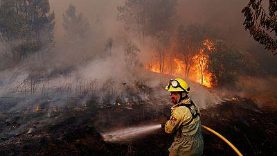 Villagers, firefighters battle huge blazes in central Portugal