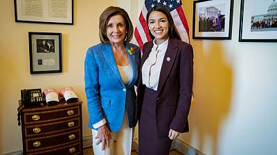 U.S. House Speaker Pelosi all smiles after meeting with Ocasio-Cortez
