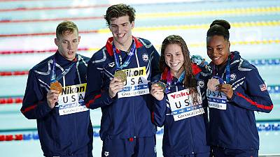 U.S. set world record, win mixed 4x100m freestyle relay gold