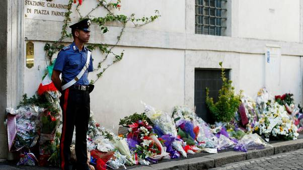 Watch again: Hundreds mourn policeman allegedly murdered by American teenagers in Rome