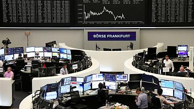 European shares hit by Bayer, Lufthansa; FTSE shines