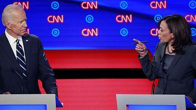 Biden and Harris do battle, face attacks in combative U.S. Democratic debate