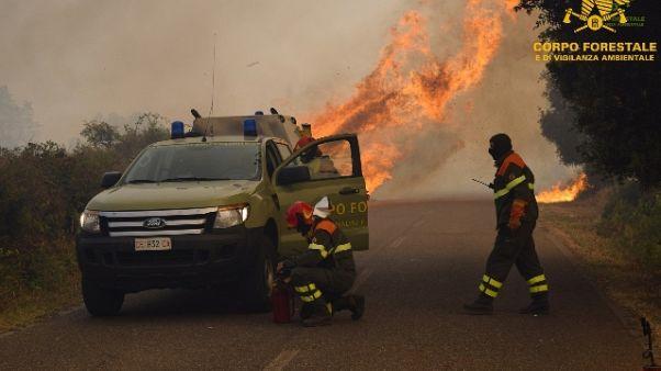 Incendio vicino a strada, chiusa Statale