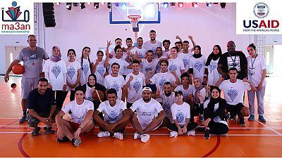 Visite de la délégation de la ligue Américaine Professionnelle de Basket-ball en honneur du joueur international tunisien Salah Mejri à Douar Hicher