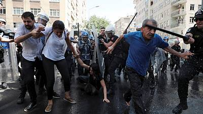 Turkish police use water cannon, batons on Kurdish protesters