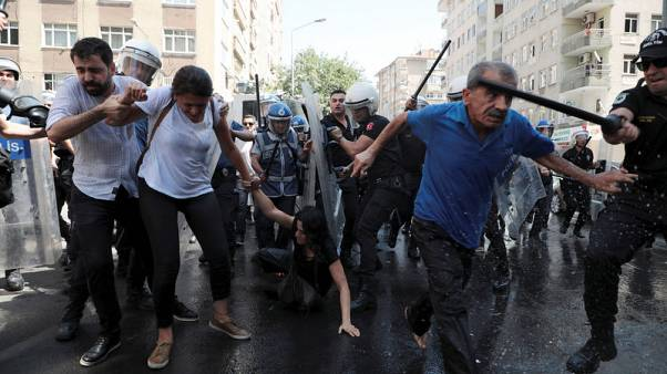 Turkish police use water cannon, batons on Kurdish protesters