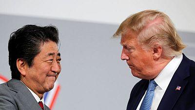 ترامب وآبي يتفقان على مبادئ اتفاق تجارة خلال قمة/7