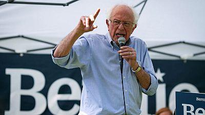 U.S. presidential candidate Bernie Sanders takes aim at corporate media, tech giants