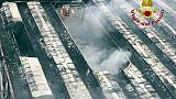 Rogo rifiuti, pompieri ancora al lavoro