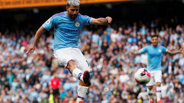 Aguero scores double as Man City hit four in win over Brighton