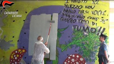 Murale pro droga, cancellato a Catania