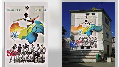 Storica rovesciata di Riva in un murale