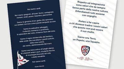 Cagliari-Genoa,volantino contro razzismo