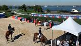 Horses take the ferry for show-jumping event on New York island