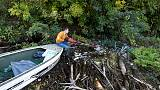 Hungarian wages one-man campaign against floating garbage in river