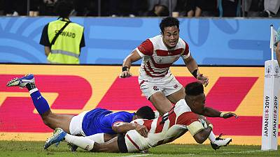 Japan on brink of first World Cup quarter-final with Samoa win